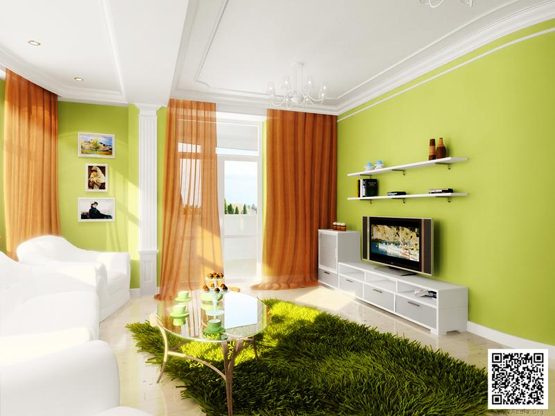 Зелёные обои в интерьере гостиной фото